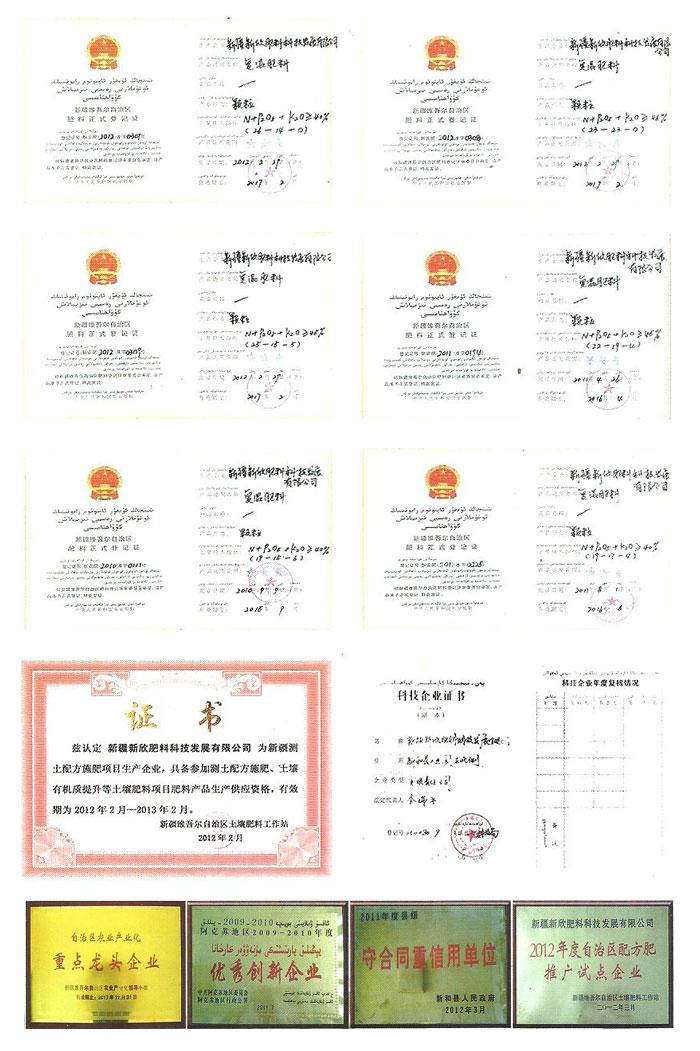 新疆新欣肥料科技发展有限公司证书