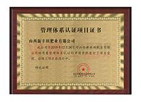 管理体系项目证书