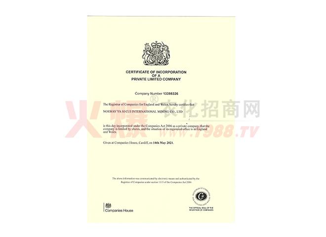 营业执照-挪威雅斯翠国际矿业有限公司