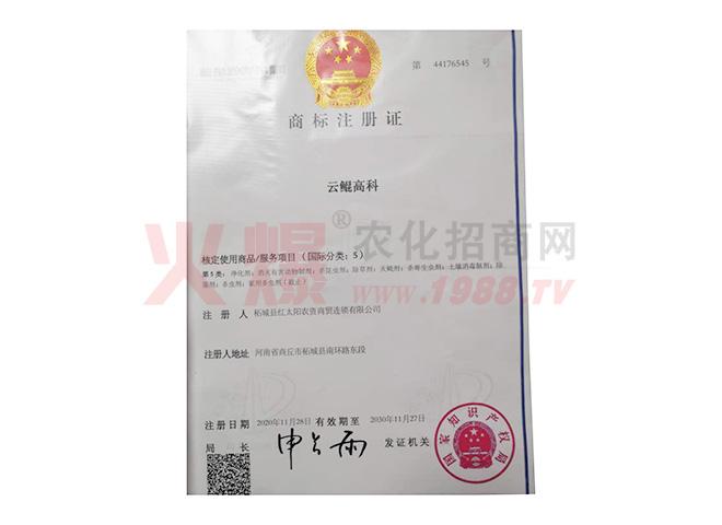 云鲲高科商标注册证