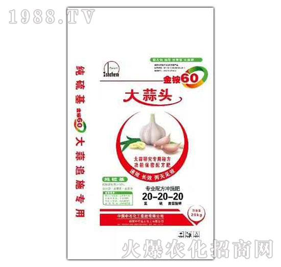 大蒜头专业配方冲施肥20-20-20-金铵60-中农国控