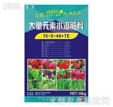 大量元素水溶肥15-5-40+TE-美巴夫
